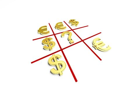 tick-tack-toe game in opposition dollar and euro photo