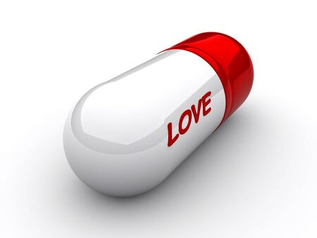 medicament: Capsule with an inscription love close up
