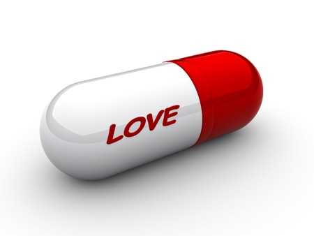 aphrodisiac: Capsule with an inscription love close up