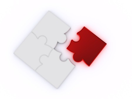 Design from puzzles on a white background Stock Photo