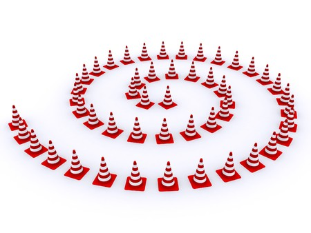 Road red-white cones on a white background Stock Photo