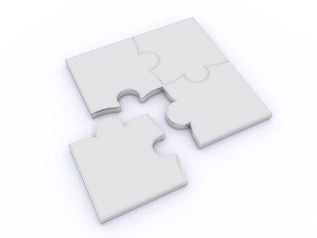 integration: Design from puzzles on a white background Stock Photo