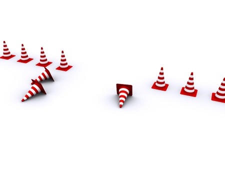 Road red-white cones on a white background Stock Photo - 4322520