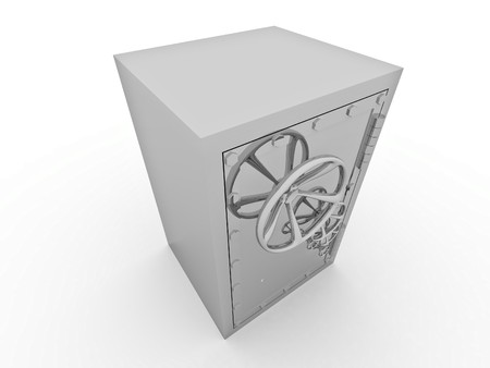 protecting: Metallic safe for storage of values on a white background Stock Photo