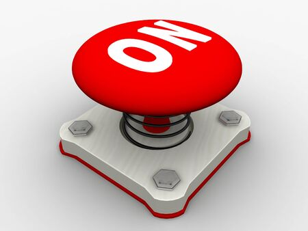 Red start button on a metal platform Stock Photo - 4472061