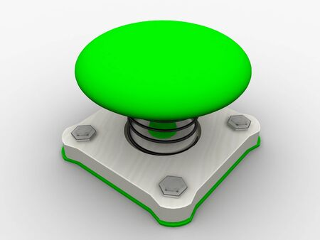 Green start button on a metal platform Stock Photo - 4472059