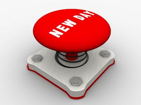 Red start button on a metal platform Stock Photo - 4683921