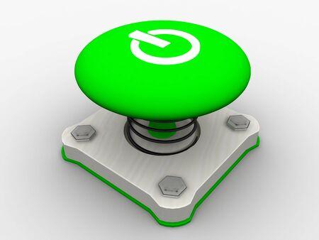 Green start button on a metal platform Stock Photo - 4683925