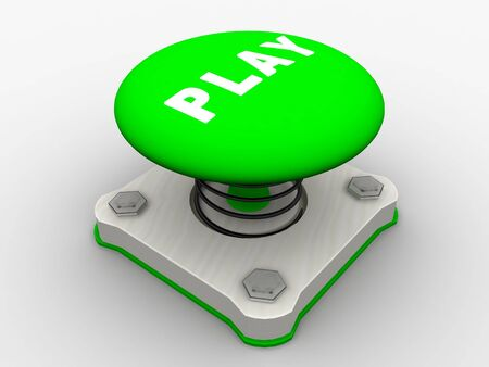 Green start button on a metal platform Stock Photo - 4683916