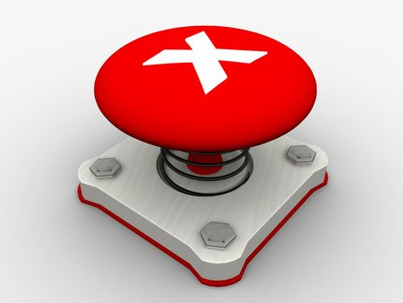 Red start button on a metal platform photo