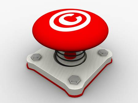 Red start button on a metal platform Stock Photo - 4844106