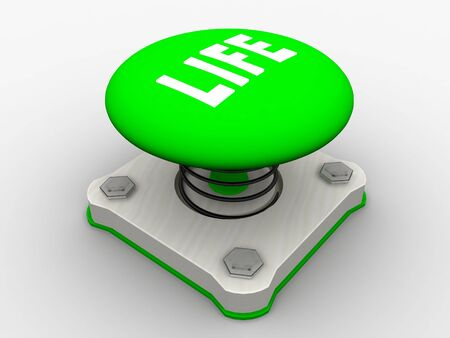 Green start button on a metal platform Stock Photo - 4844116