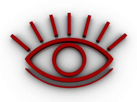 stare: The stylised eye on a white background Stock Photo