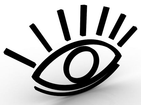 observe: The stylised eye on a white background Stock Photo