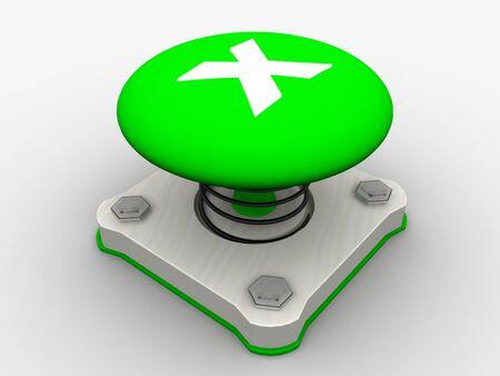 Green start button on a metal platform Stock Photo - 5037438