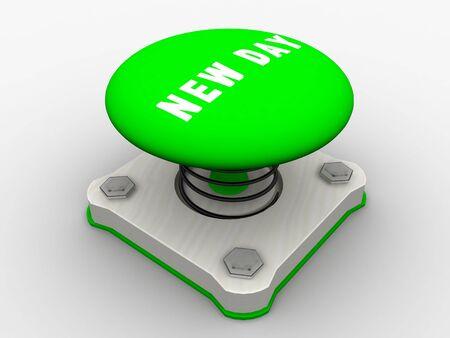Green start button on a metal platform Stock Photo - 5037346
