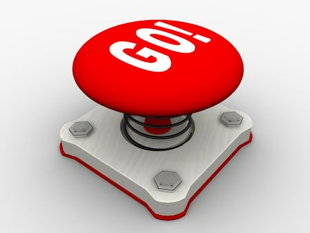 Red start button on a metal platform Stock Photo - 5037405