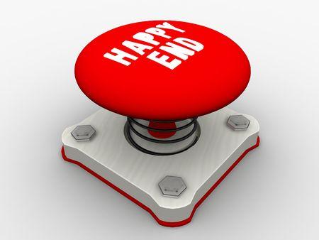 run off: Red start button on a metal platform