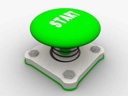 Green start button on a metal platform Stock Photo - 5037380