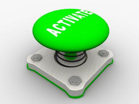 Green start button on a metal platform Stock Photo - 5037365