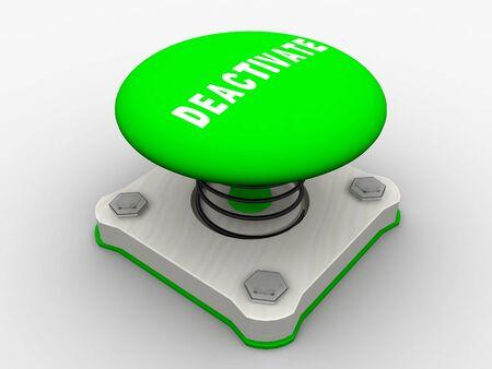 run off: Green start button on a metal platform