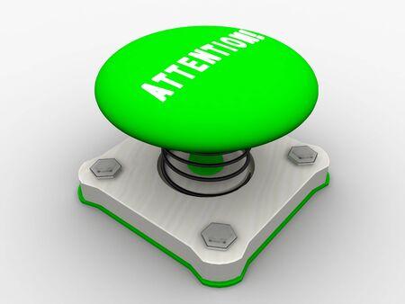 Green start button on a metal platform Stock Photo - 5037398