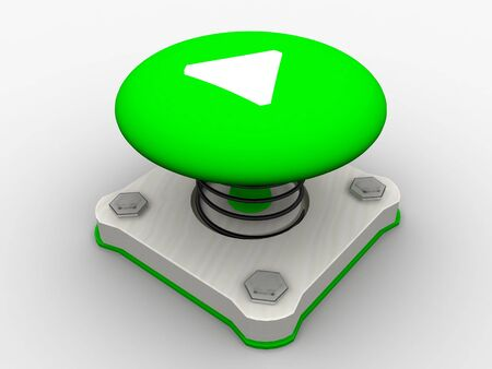 Green start button on a metal platform Stock Photo - 5037399