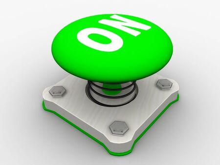 Green start button on a metal platform Stock Photo - 5037364