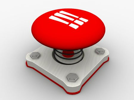 Red start button on a metal platform