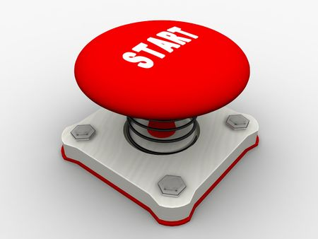 Red start button on a metal platform