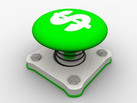Green start button on a metal platform