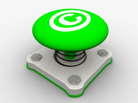 Green start button on a metal platform Stock Photo - 5338603