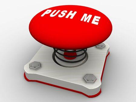 Green start button on a metal platform photo