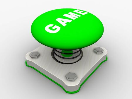 Green start button on a metal platform photo