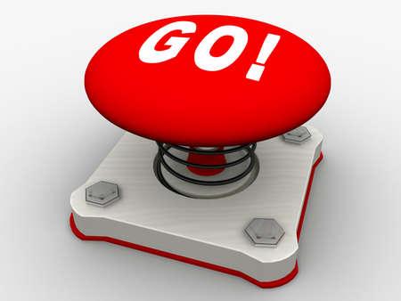Green start button on a metal platform Stock Photo - 5565717