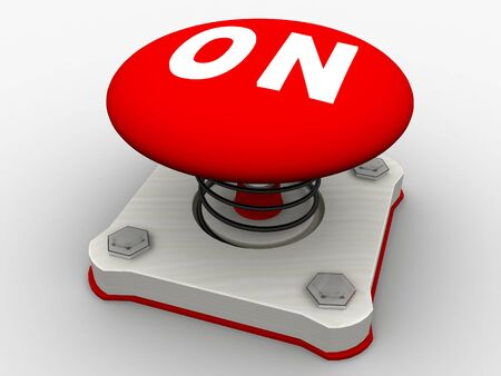 Green start button on a metal platform Stock Photo - 5565646