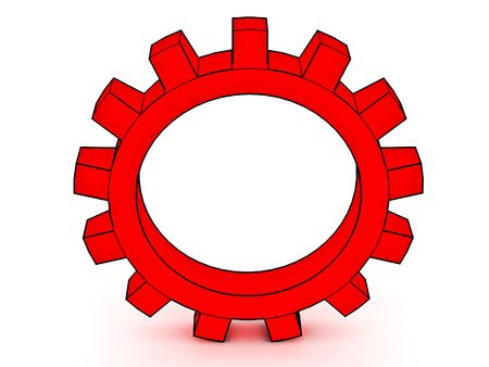 Gear on a white background for connection of mechanisms