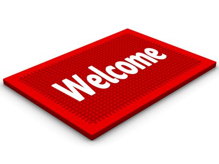 Red rug with a salutatory word Welcome Stock Photo - 6079898