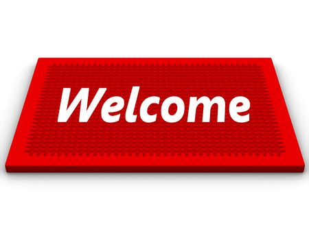 Red rug with a salutatory word Welcome Stock Photo
