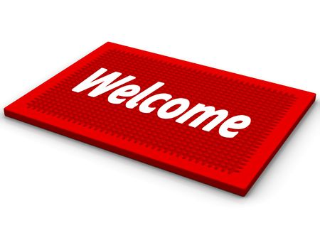 Red rug with a salutatory word Welcome Stock Photo - 6079946