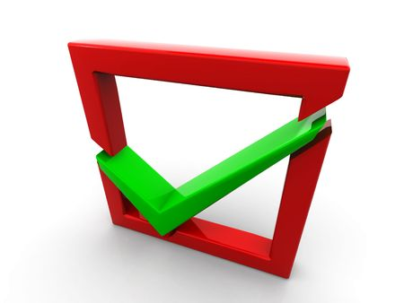 Red checkboxwith a green a tick Stock Photo - 6079943