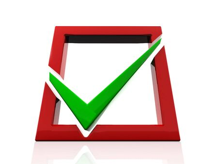 Red checkboxwith a green a tick Stock Photo - 6079888