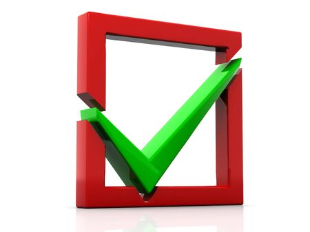 Red checkboxwith a green a tick Stock Photo