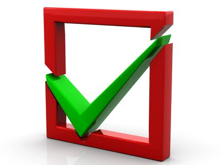 Red checkboxwith a green a tick Stock Photo - 6079890