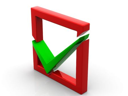 Red checkboxwith a green a tick Stock Photo - 6079892