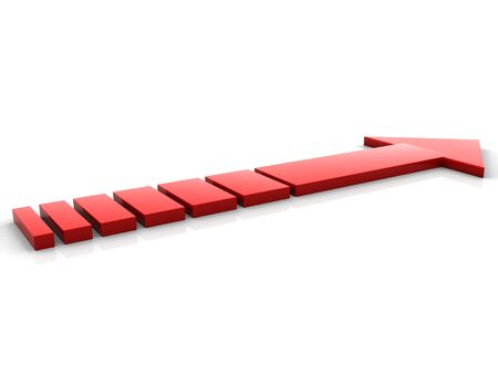 The red abstract arrow leaving in infinity Stock Photo - 6079886