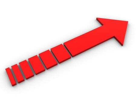 The red abstract arrow leaving in infinity Stock Photo