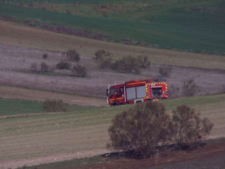 fire department red truck transport service Stockfoto