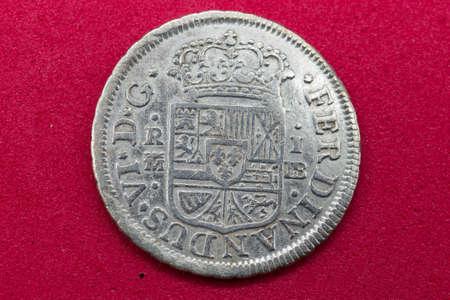 ferdinandus VI coin old silver 1755 Spain 1 real