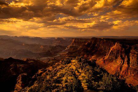colorado mountains: Dramatical sunset at Grand Canyon ridge